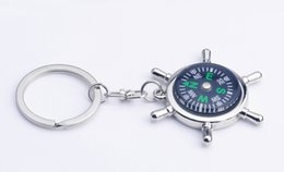 Wholesale Wholesale Mini Compasses - 30pcs Fashion Accessories High rudder compass keychain compass Mini compass King ring pocket Outdoor Gadgets Hiking & Camping Outdoor Gear