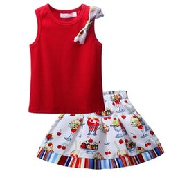 Wholesale Girls Vest Skirt Shorts Summer - Hot Sales Girls Summer Flower Suit Red Vest Top Drecorated With Flower Bow And Cute Printed Skirt Kids Stylish Baby Clothes Set CS81010-84Z