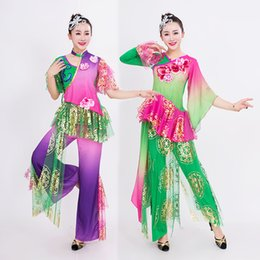 Wholesale Modern Dance Dress Costumes - 2016 new yangko dance costumes in the old fan dance dress National Classical costume adult female new modern dancing clothes