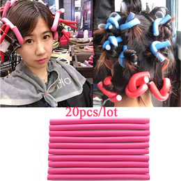 Wholesale Soft Bendy Foam Curlers - 20Pcs 1.5cm Hair Roller Curler Hair Curling Flexi rods DIY Styling Hair Rollers Curler Makers Twist Curls Tool Soft Foam Bendy