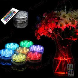 Wholesale Ir Wedding - 3AAA Battery Operated IR Remote Controlled 10 Multicolors SMD LED Vase Light,Submersible Led Light,Waterproof Floralyte Light