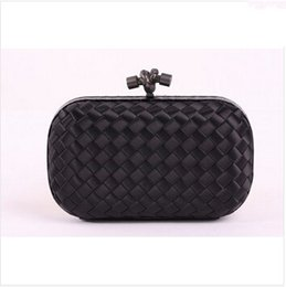 Wholesale European Knitting Bag - Wholesale Knot Satin Clutches Bag 8651S Black With Gun Metal with Snake Leather Designer Intrecciato Knitted Bag Top Quality