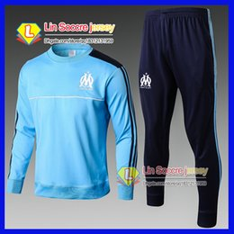 Wholesale Cotton Track Pants Men - new 2017 Olympic Marseille Tracksuit Soccer Jogging Football Tops Coat Pants Sports Training 16 17 18 Suit Men Adults OM Football Track Suit