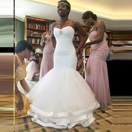 Wholesale Layered Wedding Dress Tiered - Shining Crystals Beaded Arabic Wedding Dresses Sexy Mermaid Bridal Gowns Soft Tulle Ruffles Layered Long Vestido De Noiva Wedding Dresses