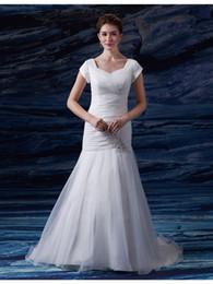 sereia vestido de casamento marfim rápido Desconto Simples Organza Plissado Sereia Vestidos de Casamento Modesto Mangas Queen Anne Neck Botões Voltar Marfim Vestidos de Noiva vestido de noiva Navio Rápido