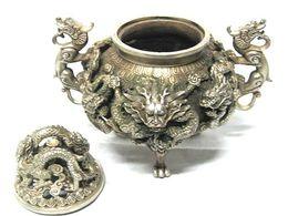 Wholesale Chinese Incense Burner Dragon - Rare Chinese tibet silver Carved FOO DOG dragons Censer Incense Burner   Free Shipping