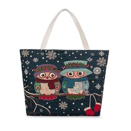 Wholesale Owl Work - New Shoulder Bags Women Arival New Owl Shopping Bag Shoulder Bag Canvas Art Female Creative Cection Work Party Fashion Bags