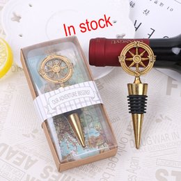 Wholesale Wedding Souvenir Wine - 2017 Golden Compass Wine Stopper Wedding Favors And Gifts Wine Bottle Opener Bar Tools Souvenirs For Party Easter Free DHL XL-G241