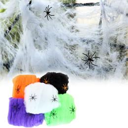 Wholesale Net Prop - 2PCS lot Spider Web Halloween Props Home Party Bar Decoration Stretchy Cobweb Spider Net Halloween party Horror Ornaments