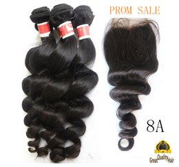 Wholesale Cheap Mongolian Closure - Wholesale Brazilian Hair Cheap 8A Peruvian Indian Malaysian Hair Extension Hair Loose Wave With Closure 8-30 inch With Eyelssh Gift