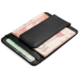 Wholesale Leather Carrier - Fashion Style RFID Money Clip Business Card Holder With High Quality Real Leather Black White Color Business Card Carrier Free Shipping