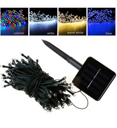 Wholesale Rgb Led Outdoor Lamp - 100 LED 200 LED Outdoor 8 Modes Solar Powered String Light Garden Christmas Party Fairy Lamp 10M 22M