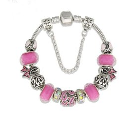 pink cancer awareness beads Promo Codes - Wholesale 925 Sterling Silver Pink Murano Glass Beads Breast Cancer Awareness Pink Ribbon Fit Pandora Silver Charm Bead Bracelet Jewelry