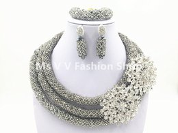 Wholesale Silver Costume Jewelry Sets - 2016 new design Fabulous luxury silver Nigerian Wedding Jewelry Set Costume African Beads Jewelry Sets 18K Hot Free Shipping