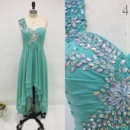 Wholesale Turquoise One Shoulder Prom Dresses - Charming High Low Prom Dress Sweetheart One Shoulder Prom Dressess Ruched Chiffon Colorful Crystals Turquoise Formal Party Gowns