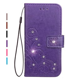 Wholesale Leather Flip Cover Galaxy S7562 - Diamond Rhinestone PU Leather Case For Samsung Xcover 4 G390 SM-G390F Flip Wallet Stand Cover For Samsung Galaxy Trend S Duos S7562 GT-S7562