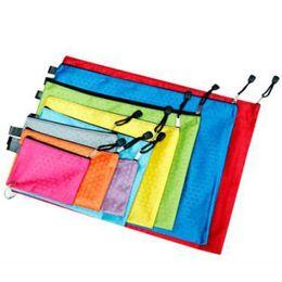 Wholesale Canvas Folder - 10pcs lot Waterproof Stationery File Bags With Zipper File Folder Canvas Zipper Paper Clip Pencil Bag File Bag Papelaria