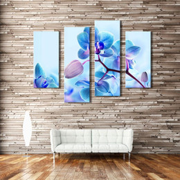 Wholesale Orchid Oil Painting Canvas - 4 Picture Combination Moth Orchid Flower Canvas Art Modern Print Oil Painting on Canvas Wall Art Deco For Home Decoration