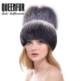 Wholesale Black Rex Rabbit - Wholesale-QUEENFUR Women Fashion Real Rex Rabbit Fur Hat With Silver Fox Fur Big Pom Poms Beanies 2016 Winter Warm Thick Rabbit Fur Caps