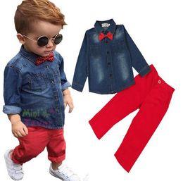 Wholesale Cute Bear Long Shirt - NWT 2016 Cute Cartoon Bowtie Bear Baby Girls Boys clothes Outfits Set Summer Sets Boy cowboy shirt + Boys Pants 2pcs Suits