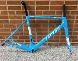 Wholesale 49cm Road Bike Frame - 2018 hot sell taiwan made newest design model white blue color FACTOR O2 carbon road bike frame bicycle frameset bike free shipping ems