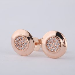 Wholesale 925 Silver Rose Stud Earrings - 100% 925 Silver Jewelry Stud Earrings for Women logo Rose Gold Color Signature Stud Earrings with Clear CZ