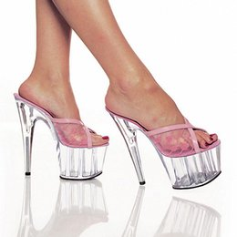 Wholesale Pink Interest - Photo 15 cm high shoes with women's shoes Peep-toe stilettos interest performance evening stage show is cool procrastinate