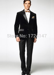 Wholesale Gold Bow Ties For Men - Wholesale-2016 New tailored Velvet Groom tuxedos wedding suits for mens 3 pieces suits (jacket+Pants+Bow tie)CM76601