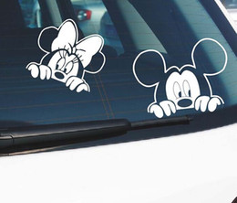 Wholesale Mouse Sticker - car stickers and decals Mickey mouse window door rear windsheild head decor funny car sticker full body auto decal cartoon vinyl removable