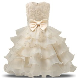 Wholesale Tutu Style Wedding Dress Prom - Infant Wear Princess Girls Clothes Junior Child Kids School Grade Prom Gown Summer Baby Girl Dress For Wedding Birthday Party