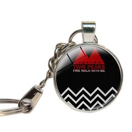 Wholesale Ring Coffee Mugs - Twin Peaks Keychain Glass Cabochon Coffee Mug Key Ring Glass Dome Key Chains Handmade Jewlery Key Holder Gifts For Men
