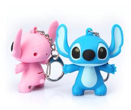 Wholesale Hot Cute Cartoon - Hot Sale 3D Stitch LED luminous key ring sound and emit light Action Figure Keychain Keyring Key Ring Cute