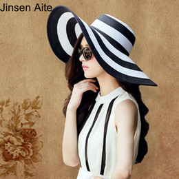 Wholesale Men Sun Visors - Wholesale- New Fashion Summer Women's Sun Hat Girl Classic Black and White Striped Vintage Wide Large Brim Straw Beach Hat Visor Cap 0997
