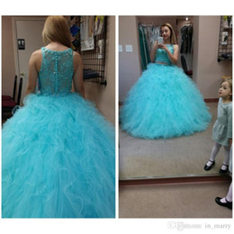 Wholesale Cheap Two Piece Quinceanera Dresses - Two Pieces Light Blue Quinceanera Queen Ball Gowns 2016 Jewel Neck Beaded Cascading Ruffles Train Formal Prom Pageant Dress For Teens Cheap