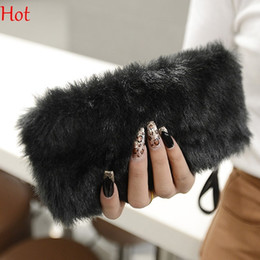 Wholesale Evening Clutch Bags Womens - Womens Bags 2016 Faux Fur Bag Envelope Bag Fur Day Clutch Evening Bag Coin Bags Purse Party Wallet Brown Black Ladies Handbags SV009989