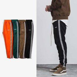Wholesale Army Sweatpants - SNAP & STRAP 2017 Autumn Mens Hiphop Sportswear Pants Stripe Side Contrast Color Letter Printing Highstreet Vintage Men Sweatpants 349W17