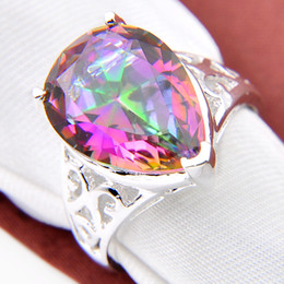 Wholesale Genuine 925 Sterling Silver - New brand fine 925 sterling gemstone Genuine Rainbow Mystic Topaz Ring jewelry free shipping CR0567
