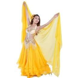 Wholesale Black Fan Veils - 2016 New Arrival Silk Veil Belly Dance 120*250cm Belly Dance Accessories Bellydance Hip Scarf Fan Veil Free Shipping DQ7012