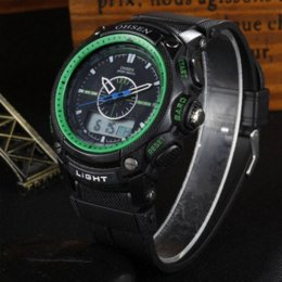 Wholesale Ohsen Lcd - OHSEN Military Army LCD Dual Core Mens Sport Watch Alarm Date Day Stopwatch Back Light Green Rubber Band Wristwatch Dive Watches