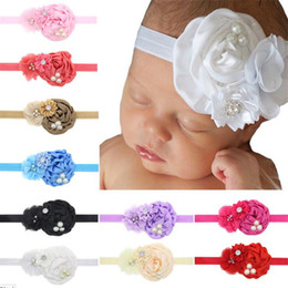 Wholesale Infant Hands - Baby Girls Headbands flower Rhinestone hand made Satin Headbands Infant Hairbands Girls Kids Head Piece Hair Accessories Headwear KHA68