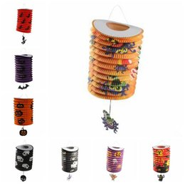 Wholesale Halloween Pumpkin Lantern - Halloween Paper Lantern Folding Pumpkin Organ Pendant Lantern Halloween Days Decoration Party Supply Paper Lantern CCA7057 100pcs