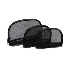 Wholesale Vanity Bags - Women mesh famous brand 3pcs set vanity cosmetic case luxury makeup organizer bag toiletry clutch pouch
