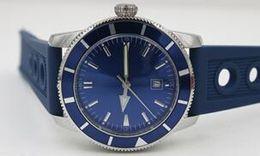 Wholesale Dive Sapphire - Luxury brand Mens Superocean Heritage Blue Dial Date Rubber Belt stainless steel Sport Chronograph Watch Men rubber belt Dive Wristwatch