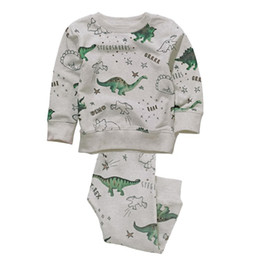Wholesale Kids Pullover Sweatshirts - Cool Dinosaur Sweatshirt set Kids clothing sets Knit Pullover Top Long sleeve + pant 2pcs set 2017 Fall Spring Winter Wholesale 2-7T