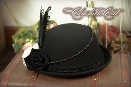 Wholesale Gothic Top Hats - Wholesale-Black and White Flowers Feather Wool Gothic Lolita Cosplay Girls Top Hat Vintage Derby Fedoras Hat