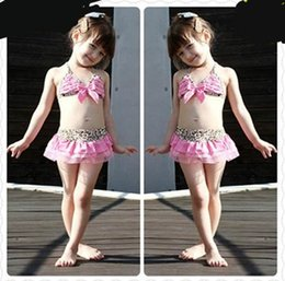 Wholesale Girls Kids Swimming Leopard - 2016 Leopard Pink Kids Girls Swimwear Cute Toddler Swimsuits Baby Swimsuits Bathing Suit Girl three Pieces Bikini Swimming Suit 5sets lot
