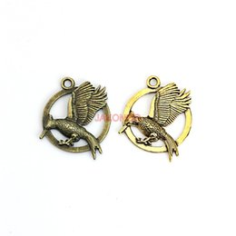 Wholesale Bird Accessories Wholesale - 10pcs Antique Silver Hunger Game Birds Charms Pendants for Necklace Bracelet Jewelry Accessories Making DIY Handmade 33x27mm