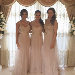 Wholesale Cheap Blush Formal Dresses - New Blush Pink Formal Bridesmaid Dresses Sweetheart Appliques A Line Floor Length Wedding Guest Dress Maid of Honor Gown Cheap Custom Made