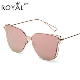 Wholesale Wholesale Frameless Mirrors - Wholesale-New Fashion Sunglasses Women Metal Frame Brand Designer Sun Glasses Vintage Coating Mirror Flat Panel Lens Shades UV400 SS341
