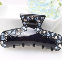 Wholesale Blue Crystal Wedding Headpiece - Curved Rectangle Blue Crystal Rhinestone Headpiece Delicate Acrylic Hair Clip Clamp Hot Sale Fashion Jewelry for Women